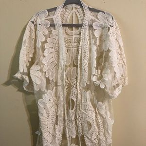 Other - Long floral lace kimono